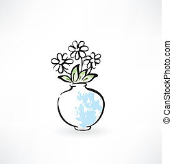 bloemen, grunge, pictogram, vaas