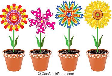 bloemen, in, potten