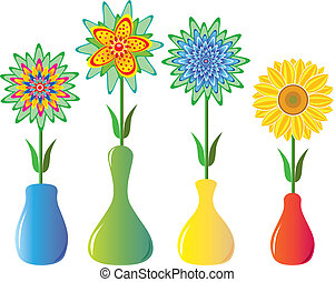 bloemen, in, vazen