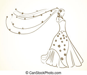bloemen, jurkje, sluier, trouwfeest