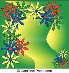 bloemen, kaart, kleurrijke, groovy