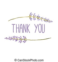 bloemen, kaart, lavender., groet, vector, watercolor, bedankt