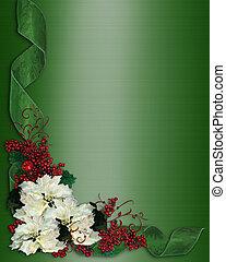 bloemen, kerstmis, grens, linten