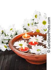 bloemen, kom, verticaal, aroma