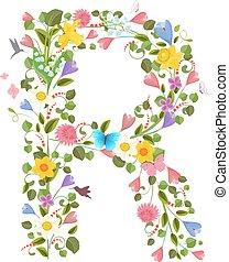 bloemen, lente, sierlijk, brief, hoofdstad, lettertype, het...