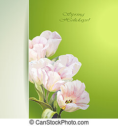 bloemen, lente, uitnodiging, mal