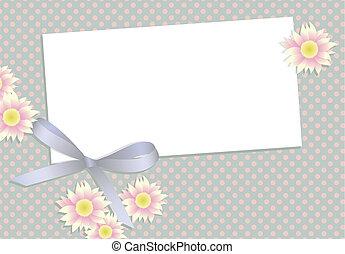 bloemen, lint, kaart, cadeau