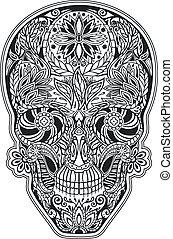 bloemen, menselijke schedel, gemaakt