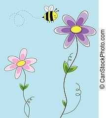 bloemen, met, bij