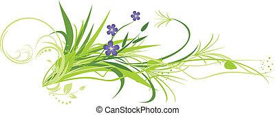 bloemen, met, gras