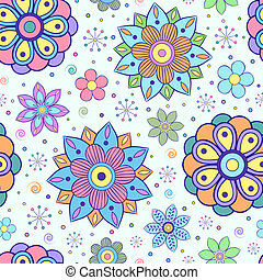 bloemen, model, seamless, abstract