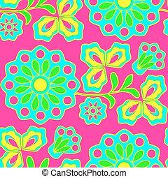 bloemen, neon, seamless, achtergrond