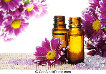 bloemen, olie, zout, essentieel
