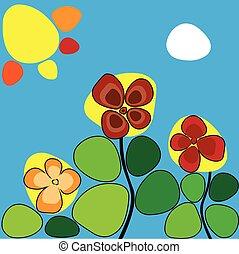 bloemen, onder, de, warme, zon