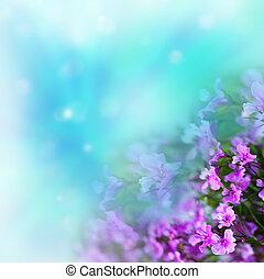 bloemen, op, abstract, achtergrond