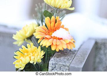 bloemen, op, een, graf