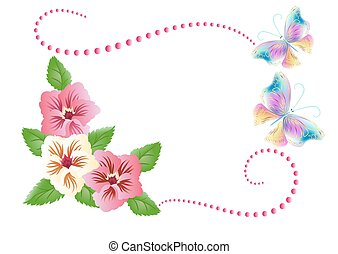 bloemen, ornament, met, vlinder