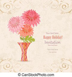 bloemen, ouderwetse , des, vaas, uitnodiging, mooi en gracieus, jouw, kaart