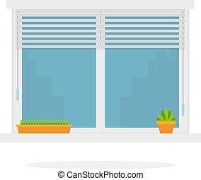 bloemen, plat, binnen, vrijstaand, venster, vector, kozijnen