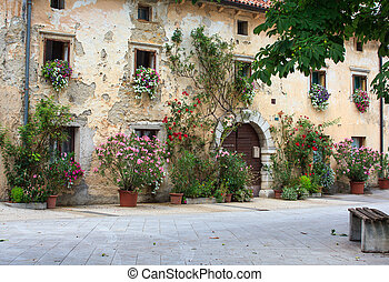 bloemen, potten, in, de, facade, woning