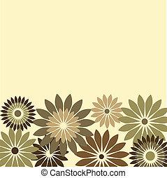 bloemen, retro, kaart