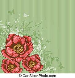 bloemen, rode achtergrond, groene