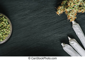 bloemen, ruimte, bovenzijde, marihuana, wiet, donker, cannabis, hout, achtergrond, kopie, aanzicht