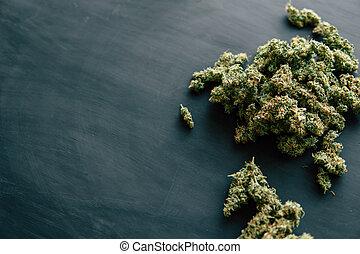 bloemen, ruimte, trichomes, donker, cannabis, achtergrond, kopie