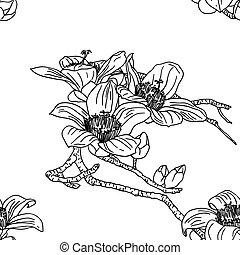 bloemen, seamless, behang, orchidee