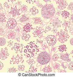 bloemen, seamless, hand, tekening