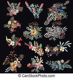bloemen, set, decoratief, vector