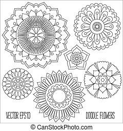 bloemen, set., doodle