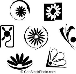 bloemen, set, iconen