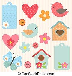 bloemen, set, vogels