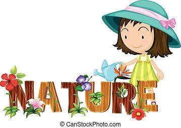 bloemen, thema, watering, meisje, natuur