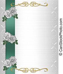 bloemen, uitnodiging, grens, trouwfeest