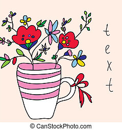 bloemen, vaas, kaart, schattig, groet, ontwerp