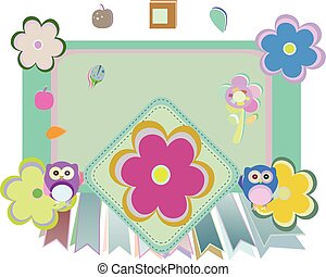 bloemen, vector, achtergrond, uil, vogels