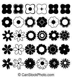 bloemen, vector, black , witte