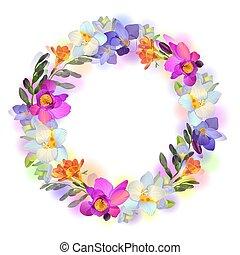 bloemen, vector, freesia, kaart, guirlande