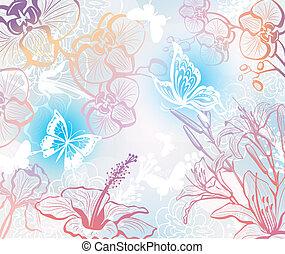 bloemen, vlinder, achtergrond