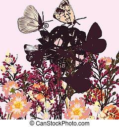 bloemen, vlinder, achtergrond, rozen, flora, akker