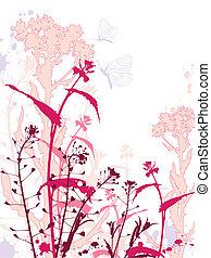bloemen, vlinder, grunge, achtergrond