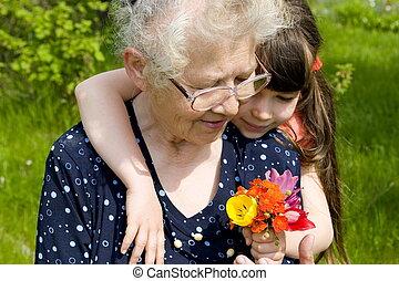 bloemen, voor, oma