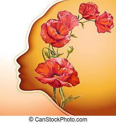 bloemen, vrouw, jonge, mooi