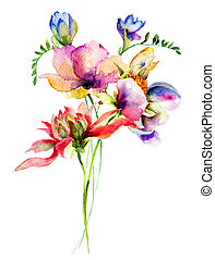 bloemen, watercolor, stylized, illustratie