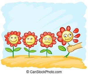 bloemen, weide, spotprent