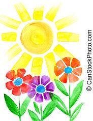 bloemen, zon