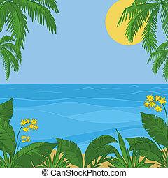bloemen, zon, hemel, gebladerte, zee