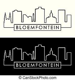 bloemfontein, skyline., linjär, style.